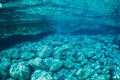 Natural blue water pool underwater view Stock Image