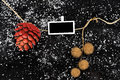 Natural christmas decoration of pinecone Royalty Free Stock Photo