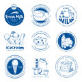 Natural dairy products, farm fresh milk vector hand drawn labels and logos