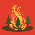 Natural disaster catastrophe.Fire in the forest vector