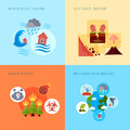 Natural disaster 4 flat icons square