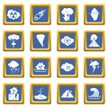 Natural disaster icons set blue