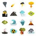 Natural disaster icons set, flat ctyle