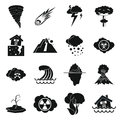 Natural disaster icons set, simple