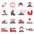 Natural Disaster Red Black Icons Collection Royalty Free Stock Photo