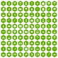 100 natural disasters icons hexagon green
