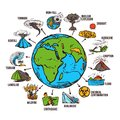 Natural disasters infographics set with sketch globe and catastrophe symbols vector illustration Stock Image