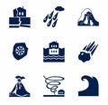 Natural disasters, monochrome icons.