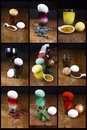 Natural easter egg dye sources collage of color with eggs Stock Photography