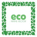 Green energy leaves square frame vector