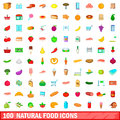 100 natural food icons set, cartoon style