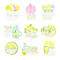 Natural fresh juice product set of logo templates hand drawn colorful vector Illustrations