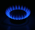 Natural gas burns in the kitchen Stock Photo
