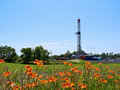 Natural Gas Drill in Farmland Stock Photography