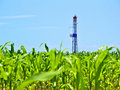 Natural Gas Fracking Drill in Cornfield Royalty Free Stock Photo