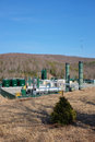 Natural gas gathering station a in monroe county pennsylvania for marcellus shale Stock Photos