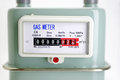 Natural gas meter close up focus on Royalty Free Stock Image