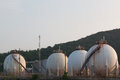 Natural gas storage tank in sphere shape four Stock Photo