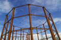 Natural gas tank structure the empty towers in bolton england Royalty Free Stock Image
