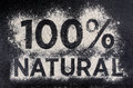 100 natural, gluten free food, word made of flour Royalty Free Stock Photo