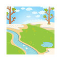Natural green grass spring background with river, trees, birds and white clouds vector. Royalty Free Stock Photo