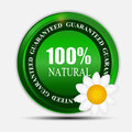 100% natural green label isolated on white.vector Royalty Free Stock Photo