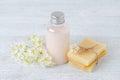 Natural hair shampoo, handmade soap bar with fresh flowers Royalty Free Stock Photo