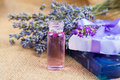 Natural handmade lavender Liquid soap and solid soap Royalty Free Stock Photo