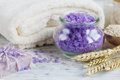 Natural handmade soap, sea salt, towel, oat flakes and wheat ear Royalty Free Stock Photo