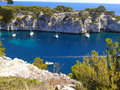 Natural harbor of cassis on the mediterranean coast Royalty Free Stock Image