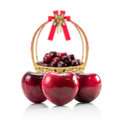 Natural heart shape from cherry fruit Royalty Free Stock Photo