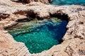 Natural heart shape pool in koufonissia island cyclades greece Stock Photo