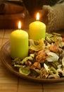 Natural herbal ingredient in wooden bowl Royalty Free Stock Photo