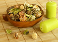 Natural herbal ingredient in wooden bowl and Royalty Free Stock Photo