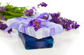 Natural herbal lavender soap with fresh blossoms Royalty Free Stock Photo