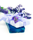 Natural herbal lavender soap with fresh blossoms