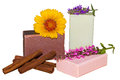 Natural herbal soaps made with plant extracts for a luxury bathing experience with fresh calendula and sage flowers and cinnamon Royalty Free Stock Photos