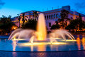 Natural history museum evening composition of the with bea evenson fountain in foreground in balboa park san diego california Stock Photo