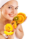 Natural homemade fruit facial masks isolated Stock Photo