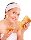 Natural homemade organic  facial masks of honey. Royalty Free Stock Image