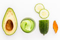 Natural ingredient for skincare and scrub with cucumber avocado turmeric isolated on white background Stock Photography