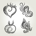 Natural ink line art heart and butterfly apple and leaf Royalty Free Stock Images