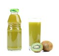 Natural kiwi juice in glass and bottle a white background Royalty Free Stock Images