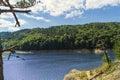 Natural lake coast at cloudy day Royalty Free Stock Photo