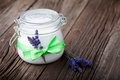 Natural lavender and coconut body butter diy handmade with oil almond oil shea Royalty Free Stock Image