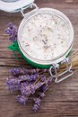 Natural lavender and coconut body scrub Royalty Free Stock Photo