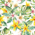 Natural leaves watercolor seamless pattern, flower orchid Royalty Free Stock Photo