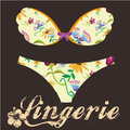 Natural lingerie a colored bra and pantie with some flowers in its design Stock Image