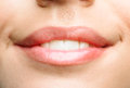 Natural lips close up of beautiful make up is woman is smiling Stock Images