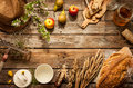 Natural local food products on vintage wooden table rustic composition captured from above country lifestyle rural vacation or Stock Images